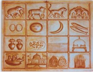 ナスィーヤン・ジャイナ教寺院にある「16の象徴」。左下にヴィマーナが!