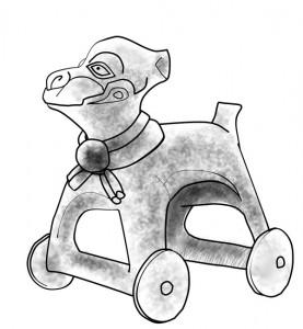アステカの犬型の玩具