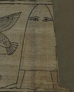 グリーンフィールド・パピルス紙片12に描かれているメジェド様 (図版はパブリックドメイン)