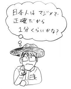 日本人は正確だといわれているから、1分くらいかな?