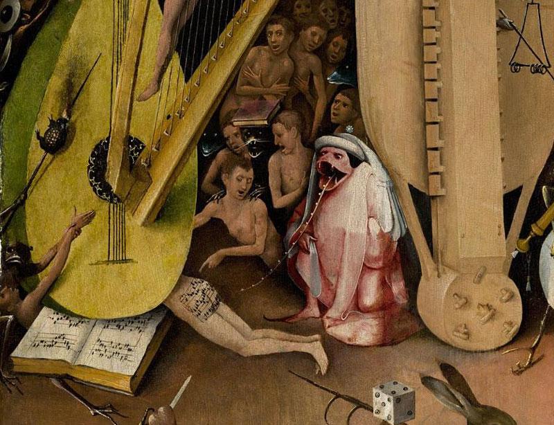 ヒエロニムス・ボス「快楽の園」右翼パネルの、譜面が描かれた部分
