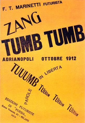 Filippo Tommaso Marinetti :  Zang Tumb Tumb (1914). Public Domain と表記されている画像を引用