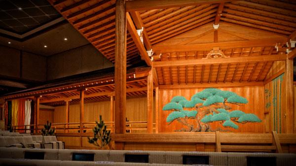 国立能楽堂の舞台。個人的には、国立能楽堂よりは、矢来能楽堂の響きのほうが好きかもしれません。